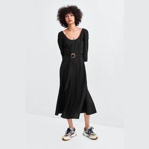 zara • black linen elbow sleeve midi belted dress